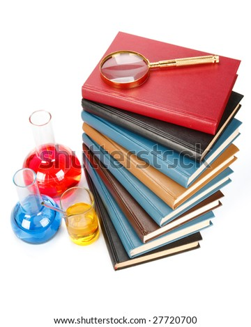 Staircase from books and a magnifier on a white background #27720700