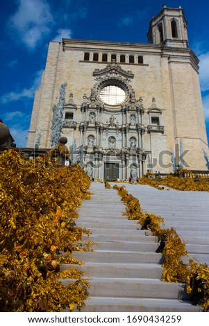 Staircase in Gothic quarter Girona decorated flowers Tiempo de flors festival