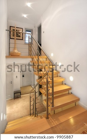 Staircase in modern home - stock photo