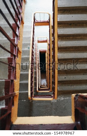 Staircase in old block - stock photo
