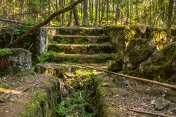 Staircase in the ruins of a fort in the Leningrad region in Russia