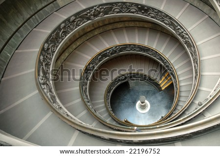 Staircase in Vatican museum - a wide angle view
