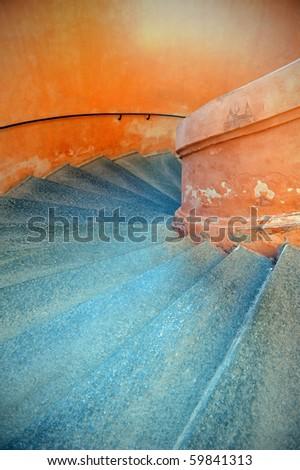Staircase inside San Luca Sanctuary. Bologna, Italy.