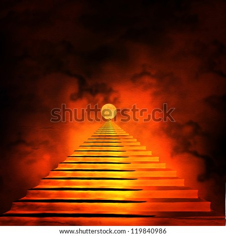 Staircase leading to heaven or hell. Light at the End of the Tunnel - stock photo
