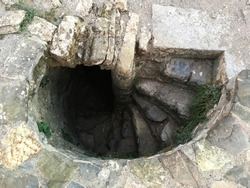 Staircase leading underground at Rozafa Castle, Shkodra, Albania