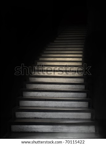 Staircase leading up to unknown darkness