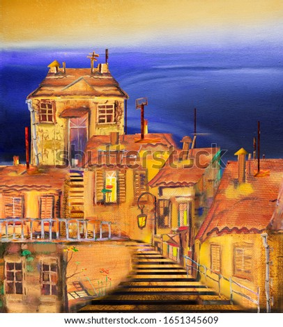 Staircase, lights in the evening old town. Oil on canvas.