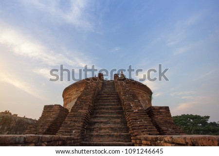 Staircase of the ancient pagoda (Myint Mo Taung) with blue sky background at Inn Wa township (Ancient township between 14th and 19th century), Mandalay, Myanmar