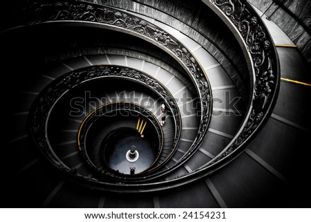 Staircase of the Vatican Museum - stock photo