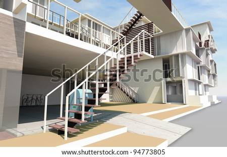 Staircase on foreground, Residential rendered