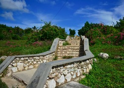 Staircase that is at the entrance of Gibara and that leads to the village cemetery on the hill of Los Caneyes.