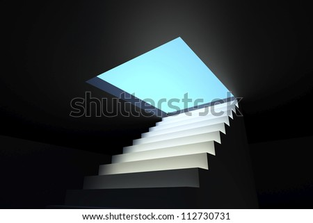 Staircase that symbolizes the destination to the new realities and opportunities.