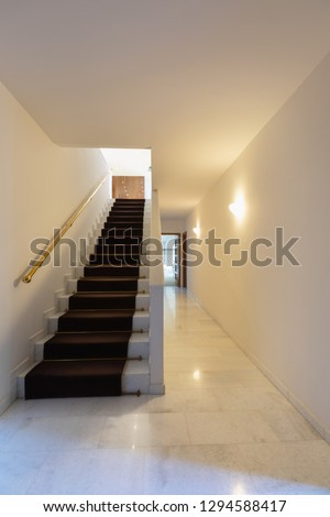 Staircase with carpet, gold handrail and marble corridor. Nobody inside stock photo