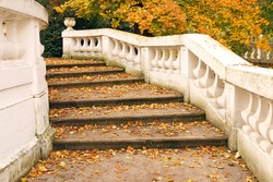 staircase with fallen leaves autumn season