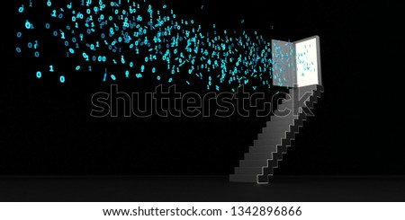 Staircase with opened door and blue bits and bytes. 3d illustration.