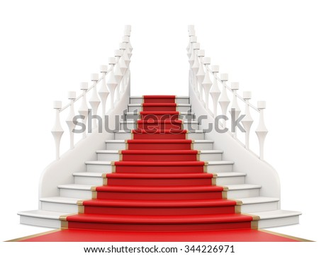 Staircase with red carpet isolated on white background. Front view. 3d rendering.