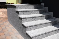 Staircase with solid block steps with stone chip render