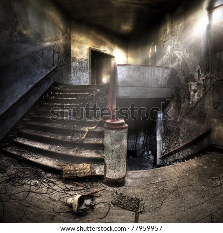 staircases in an abandoned complex, hdr processing
