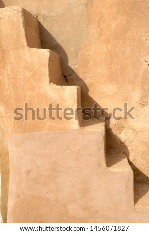 Stairs abstract shape. Stairs marked with shadow. Abstract geometrical background. Tunisian Granery. Old ruins of a building, Ksar Ouled Debbab, Tataouine, Tunisia. Starwars film shooting place
