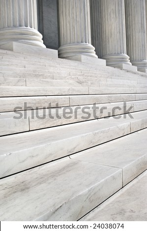 Stairs and Columns of the United States Supreme Court in Washington DC