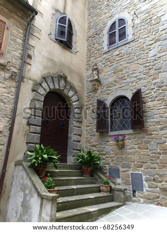 stairs and doors to the old house in Tuscany