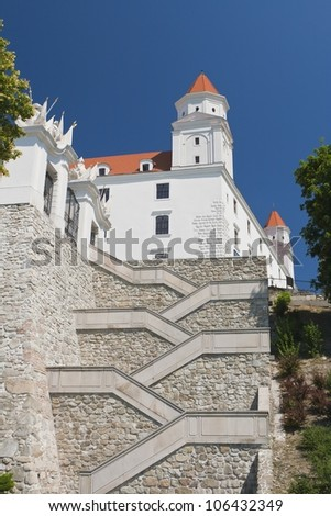 Stairs and gate to the castle of Bratislava