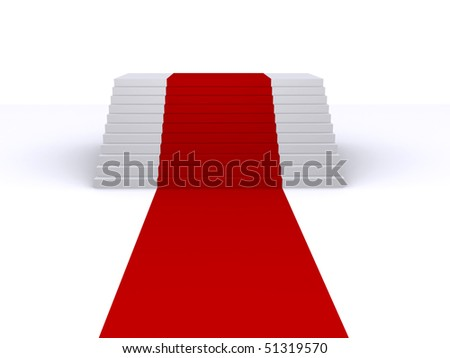 stairs and red carpet - stock photo