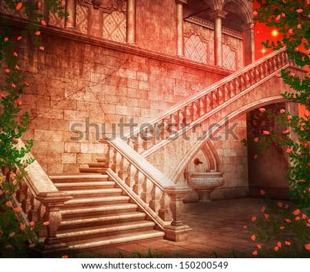 Castle Photography Backdrop Stairs Castle Fantasy Backdrop