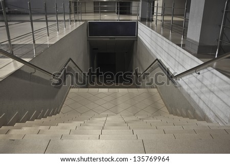 Stairs descending from subway station