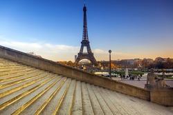 Stairs Eiffel Tower at Paris