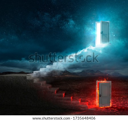 Stairs For Heaven Or Hell - Contain 3d Illustration Stock photo ©