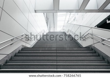 Stairs from underground upward in modern city space. #758266765