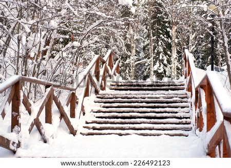Stairs in a park is covered with snow. Staircase in the snow. Winter landscape. Wooden staircase covered with snow in the park.