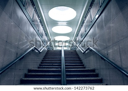 Stairs in a subway station of Beijing