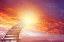 Stairs in bright sky. Stairway to heaven