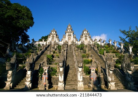 Stairs in Lempuyang temple with dragon statues Bali Indonesia