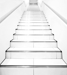 Stairs in modern black and white interior