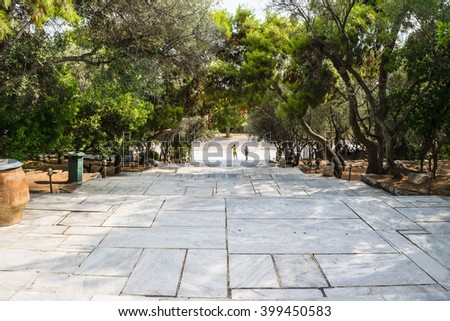 Stairs in Plaka area under Acropolis, Athens, Greece