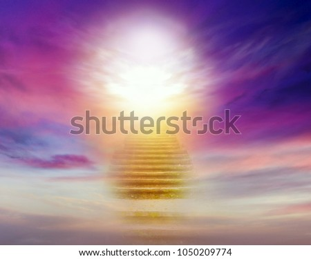 Stairs in sky . Dramatic nature background .  Sunset or sunrise with clouds, light rays and other atmospheric effect . Light from sky . Religion background .  #1050209774