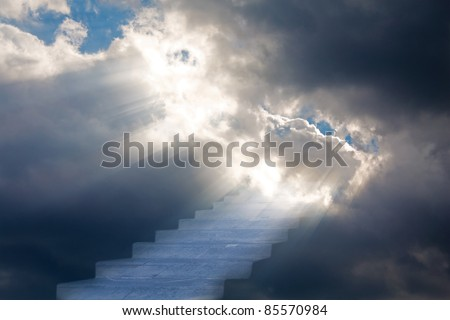 stairs in storm sky with clouds