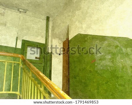 Stairs in the entrance of an old residential building in the style of oil painting