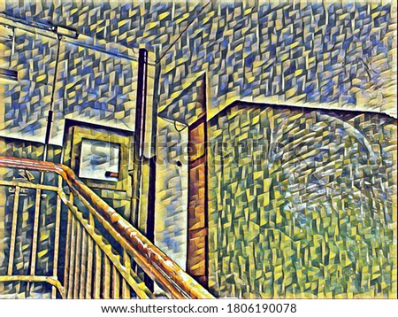 Stairs in the entrance of an old residential building in the style of painting Cubism and neural network effect