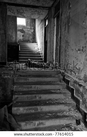 stairs in the in prefabricated house, black and white