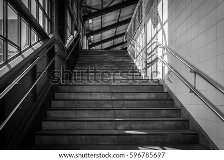 Stairs in the metro of city Hamburg, Germany. #596785697