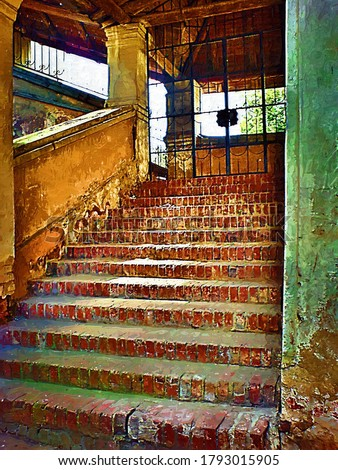 Stairs in the old Smolensk Trinity Cathedral in the style of oil painting