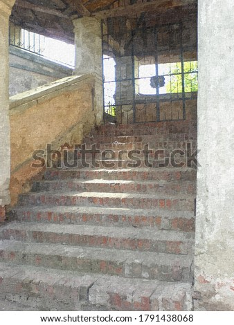 Stairs in the old Trinity Cathedral in the style of oil painting