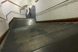 stairs in the subway of paris, france