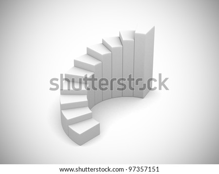 Stairs isolated on white background - 3d render illustration