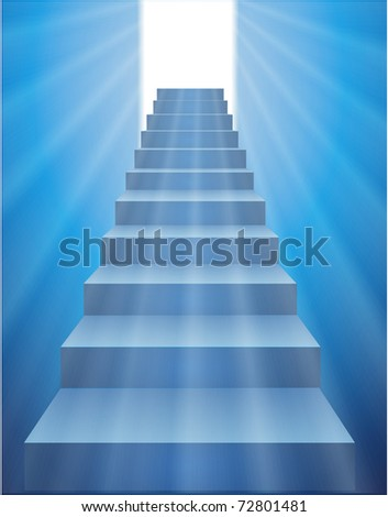 Stairs leading to the door with a bright light.