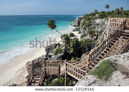 Stairs leading to the famous sandy beach in Tulum. Yucatan. Mexico